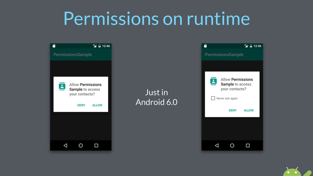 Permissions on runtime Just in Android 6.0