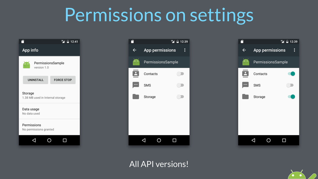 Permissions on settings All API versions!