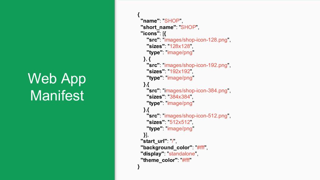 """Web App Manifest { """"name"""": """"SHOP"""", """"short_name""""..."""