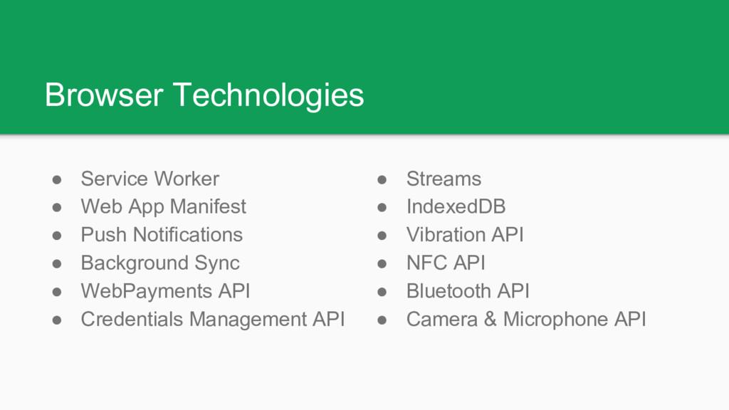 Browser Technologies ● Service Worker ● Web App...