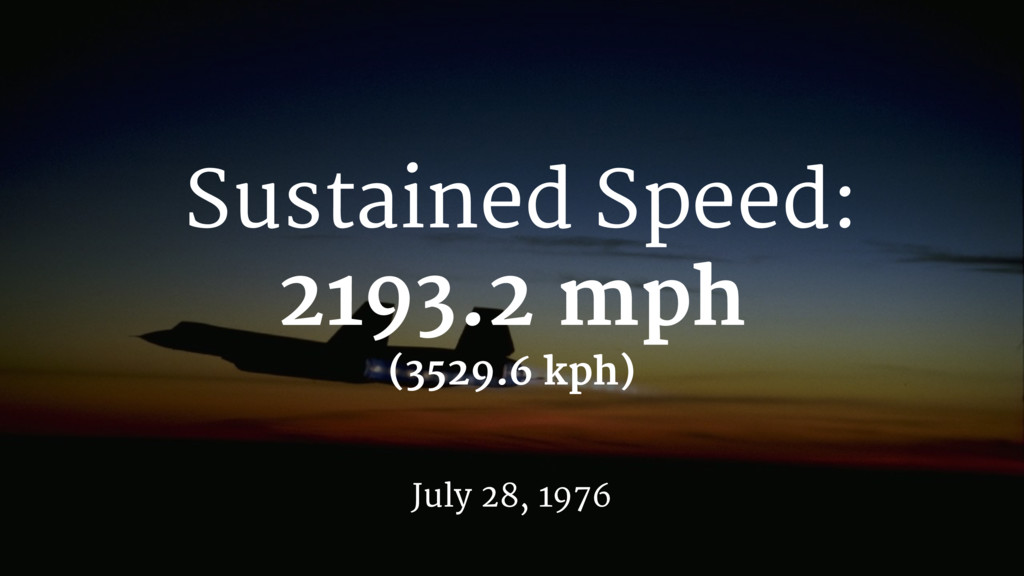 Sustained Speed: 2193.2 mph July 28, 1976 (3529...