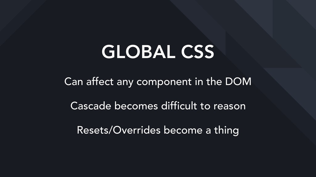 GLOBAL CSS Can affect any component in the DOM ...