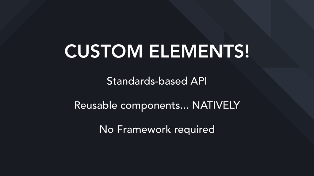 CUSTOM ELEMENTS! Standards-based API Reusable c...