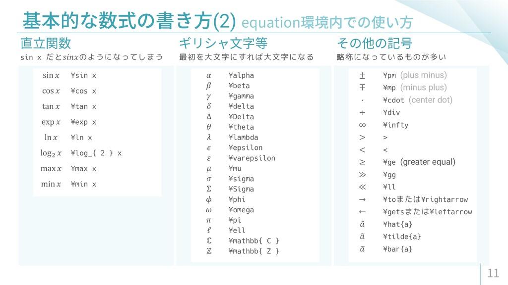 (2) sin x だと𝑠𝑖𝑛𝑥のようになってしまう 最初を大文字にすれば大文字になる 略称に...