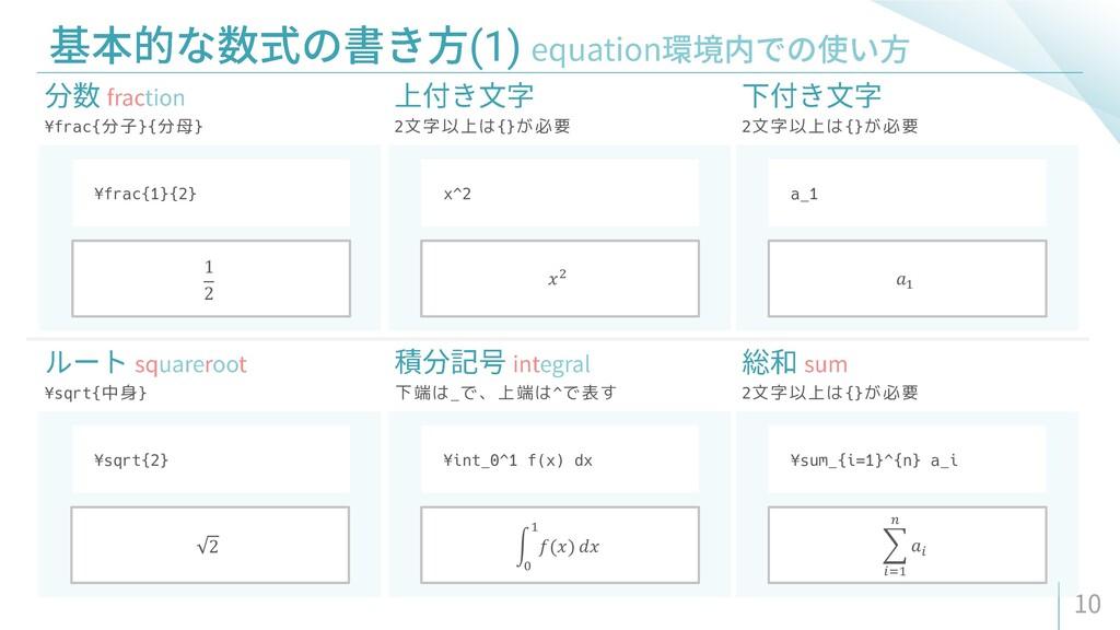 (1) ¥frac{分子}{分母} 2文字以上は{}が必要 2文字以上は{}が必要 ¥frac...