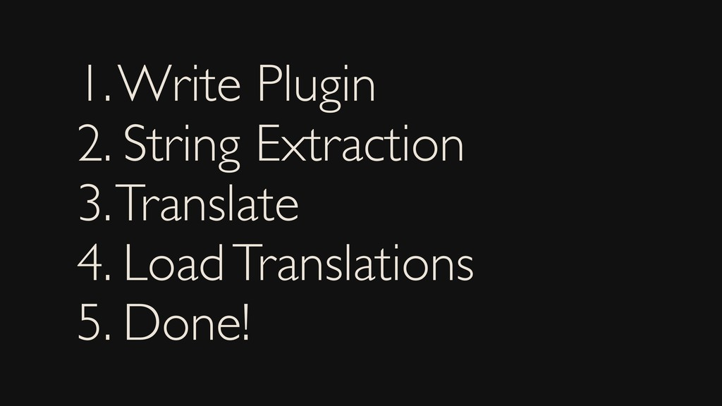 1. Write Plugin 2. String Extraction 3. Transla...