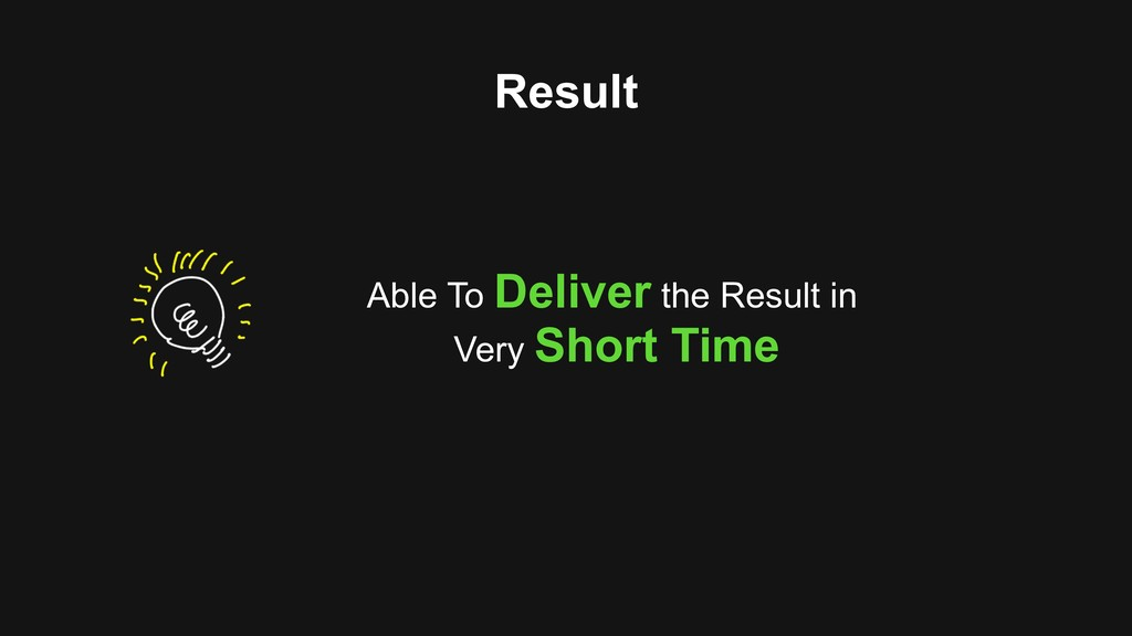 Result Able To Deliver the Result in Very Short...
