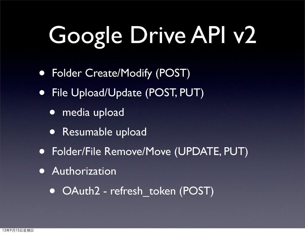Google Drive API v2 • Folder Create/Modify (POS...
