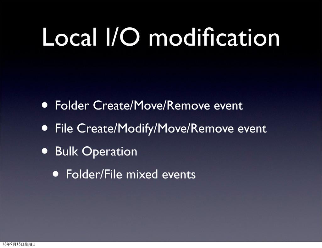 Local I/O modification • Folder Create/Move/Remo...