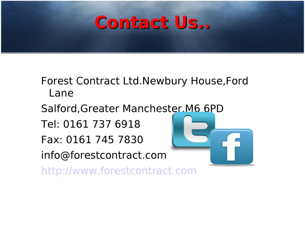 Contact Us.. Contact Us.. Forest Contract Ltd.N...