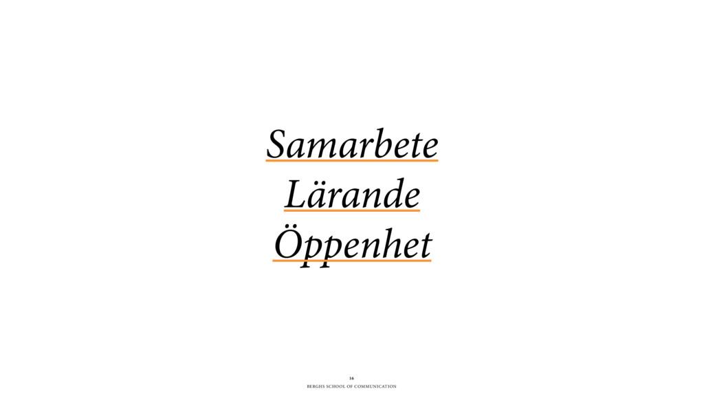 BERGHS SCHOOL OF COMMUNICATION Samarbete Lärand...