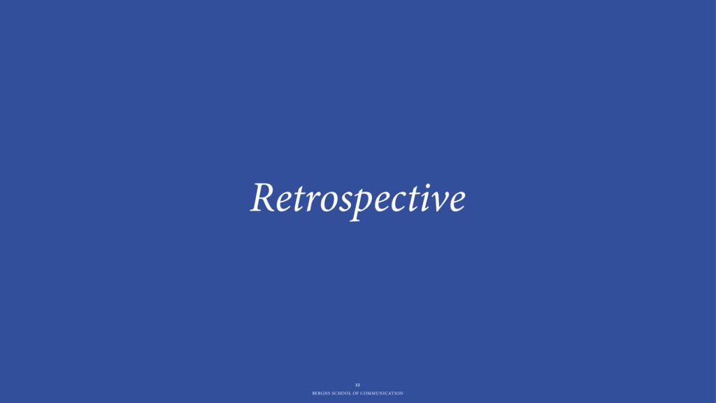 BERGHS SCHOOL OF COMMUNICATION Retrospective 32