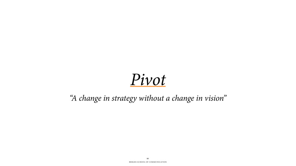"BERGHS SCHOOL OF COMMUNICATION Pivot ""A change ..."