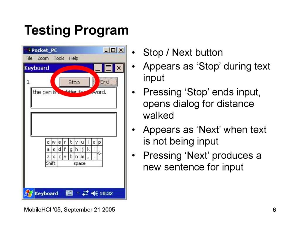 MobileHCI '05, September 21 2005 6 Testing Prog...