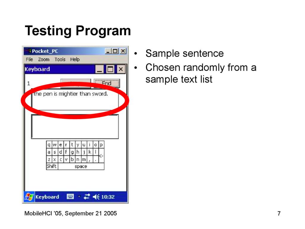 MobileHCI '05, September 21 2005 7 Testing Prog...