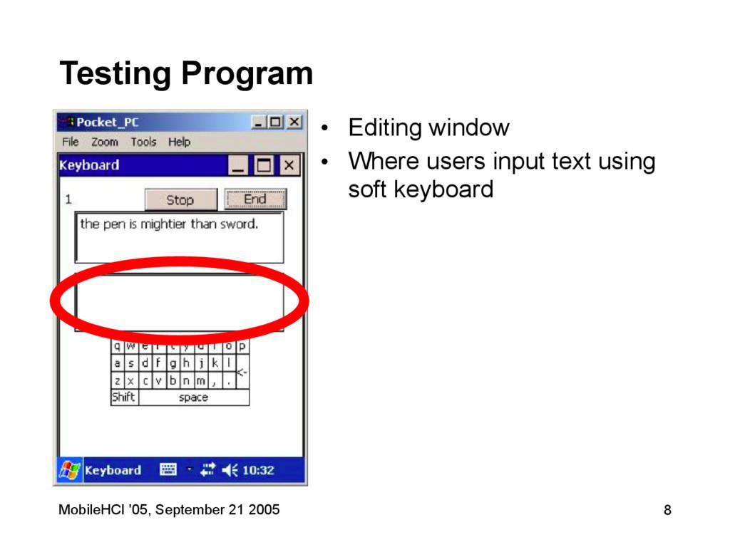 MobileHCI '05, September 21 2005 8 Testing Prog...