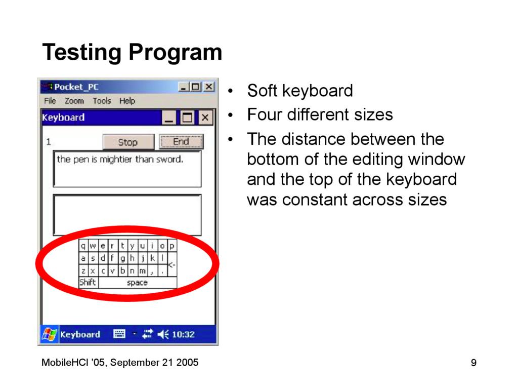 MobileHCI '05, September 21 2005 9 Testing Prog...