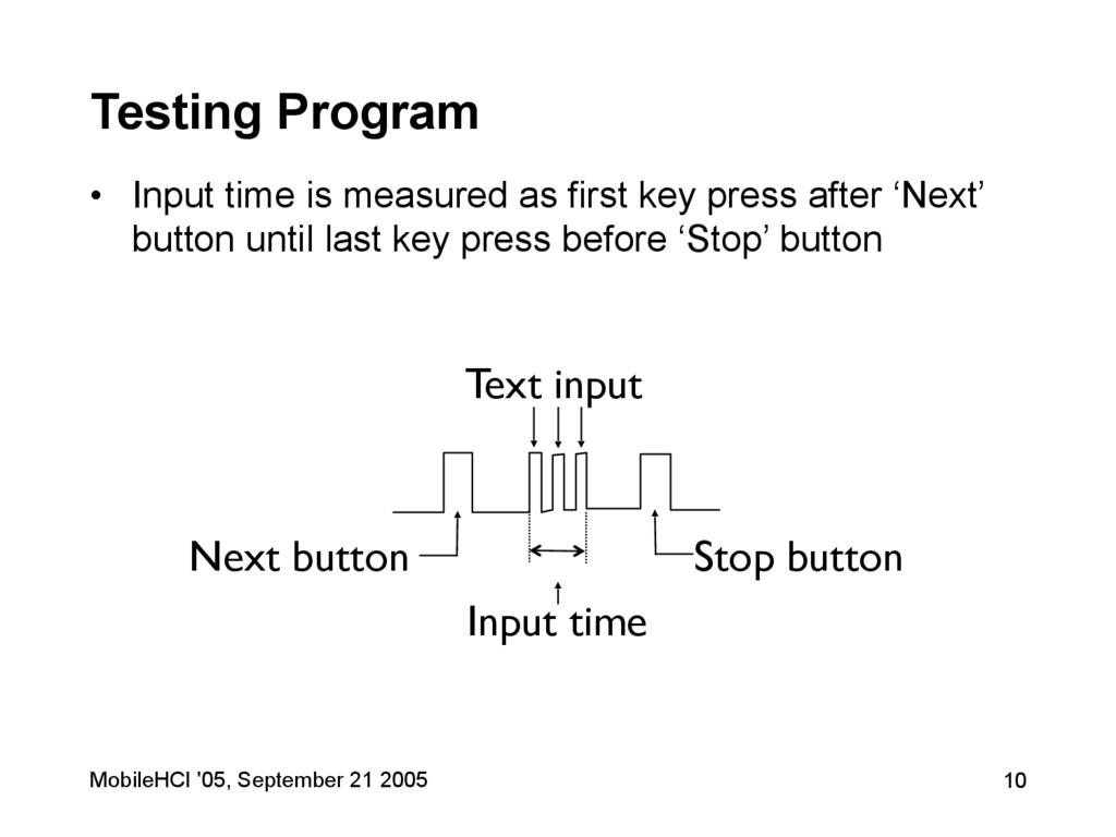 MobileHCI '05, September 21 2005 10 Testing Pro...