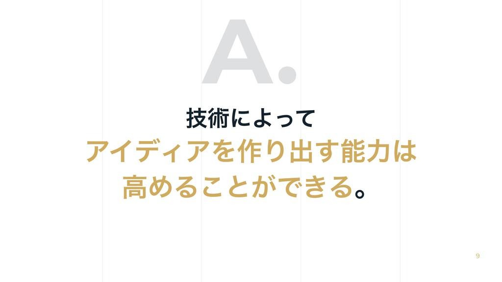 A. 9 ٕज़ʹΑͬͯ ΞΠσΟΞΛ࡞Γग़͢ྗ ߴΊΔ͜ͱ͕Ͱ͖Δɻ