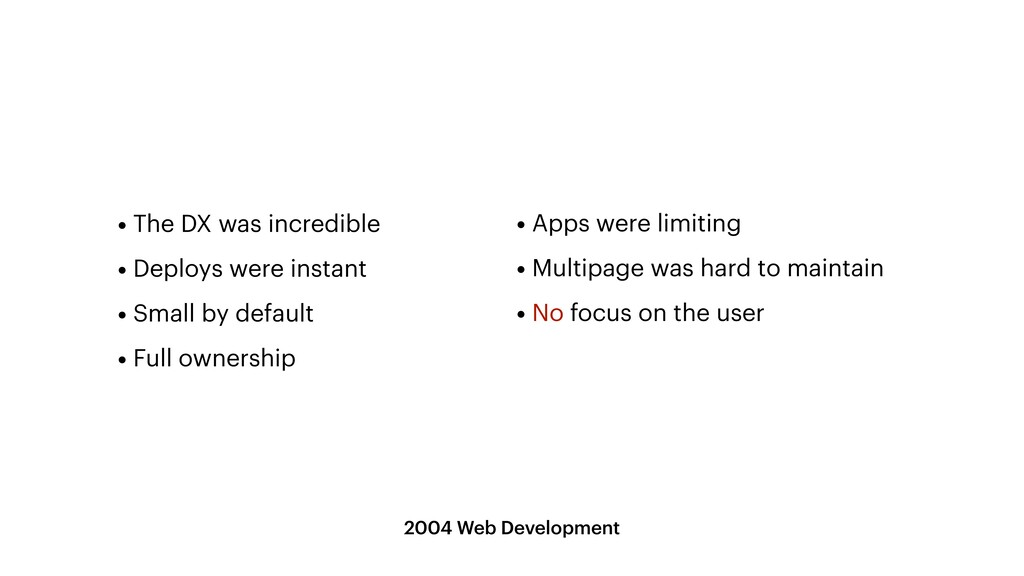 2004 Web Development • Apps were limiting   • M...