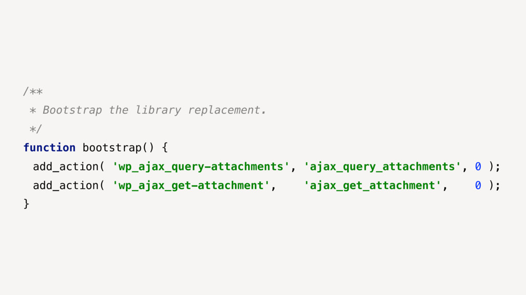 /** * Bootstrap the library replacement. */ fun...