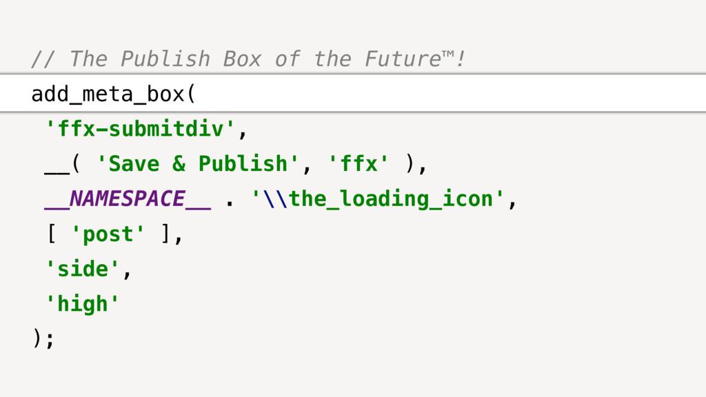 // The Publish Box of the Future™! add_meta_box...