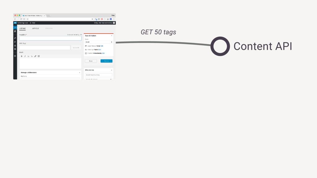 GET 50 tags Content API