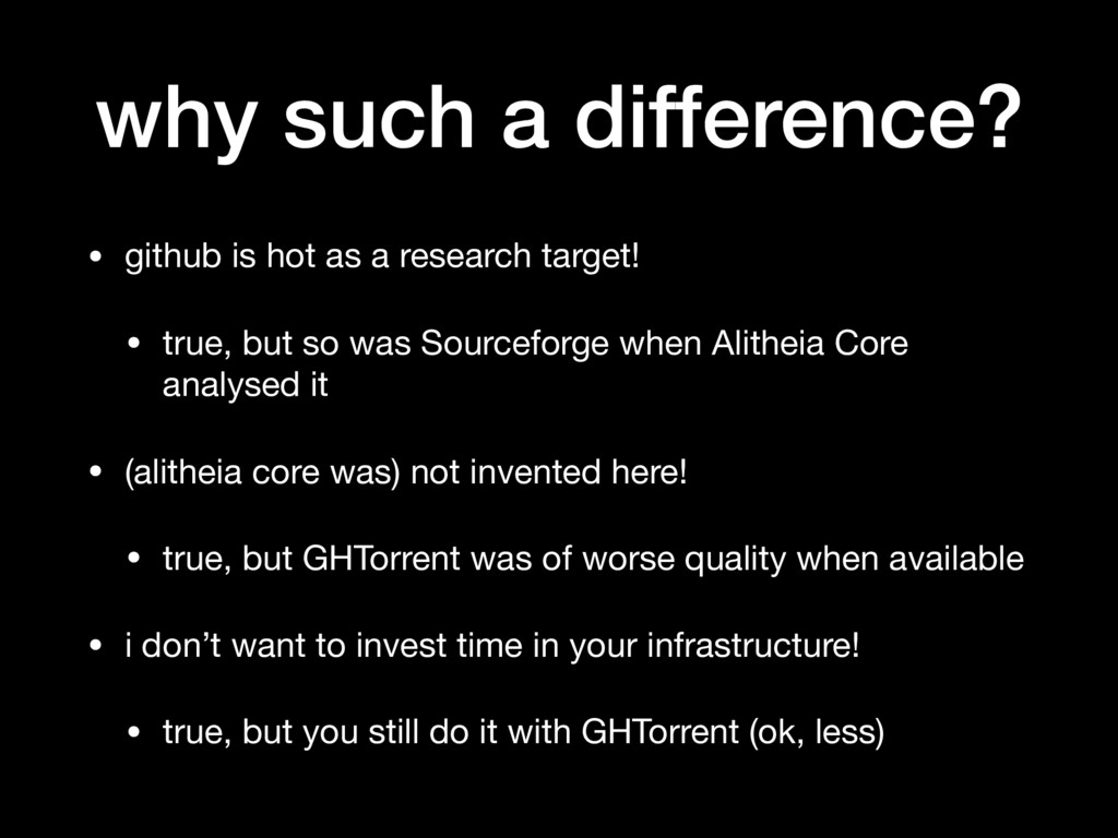why such a difference? • github is hot as a res...