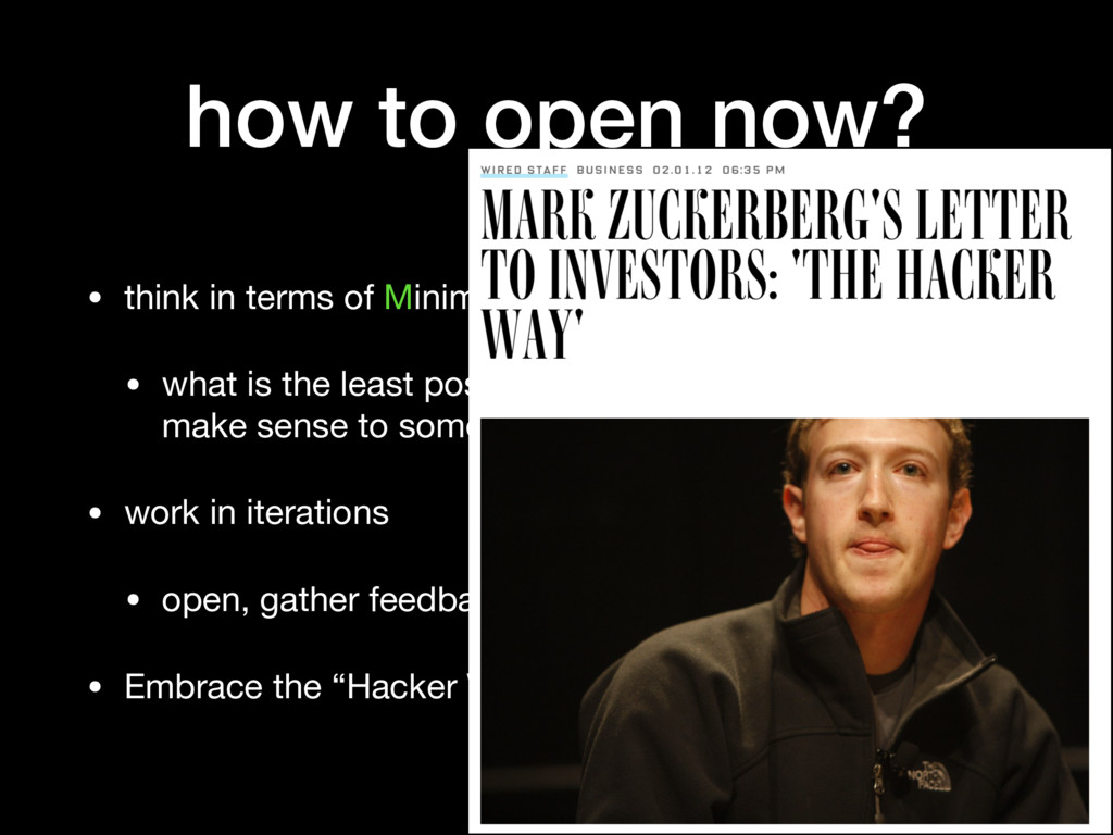 how to open now? • think in terms of Minimum Vi...