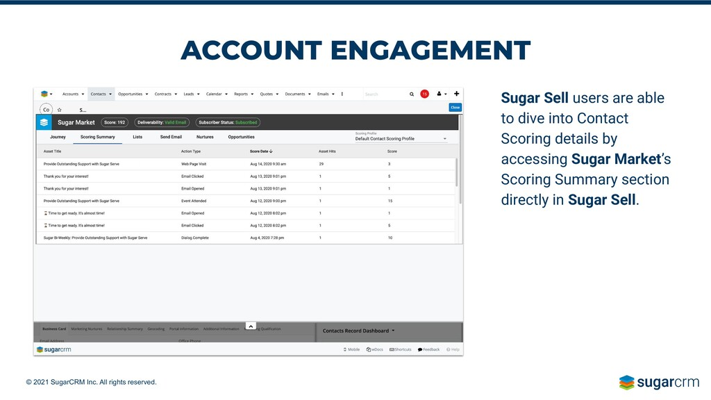 © 2021 SugarCRM Inc. All rights reserved. ACCOU...