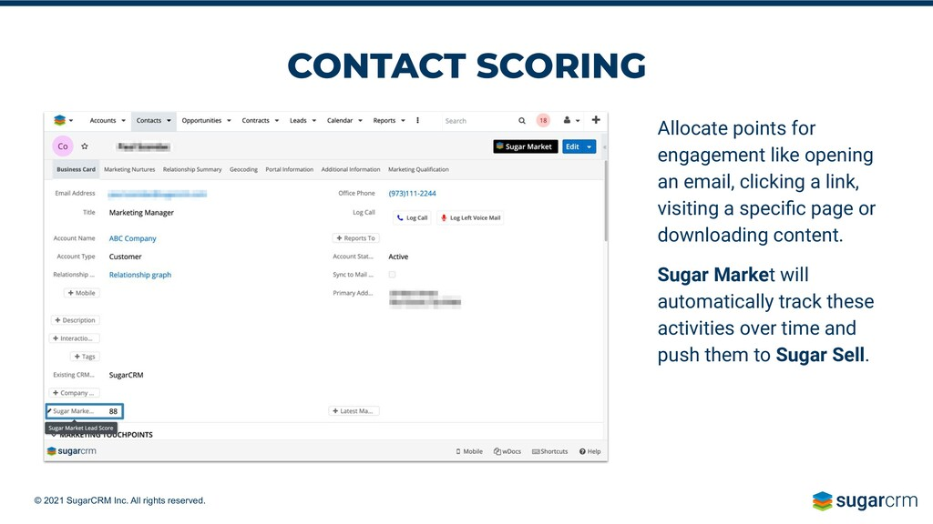 © 2021 SugarCRM Inc. All rights reserved. Alloc...