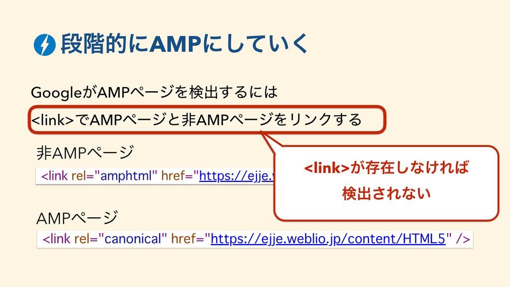 ஈ֊తʹAMPʹ͍ͯ͘͠ Google͕AMPϖʔδΛݕग़͢Δʹ <link>ͰAMPϖʔ...