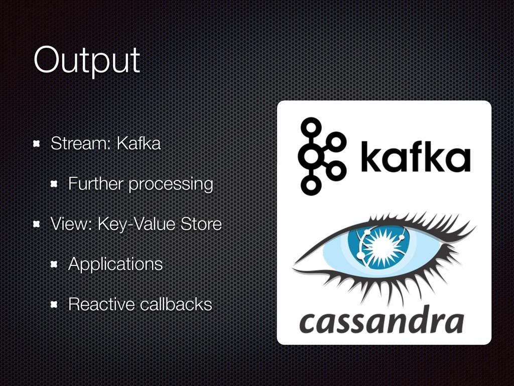 Output Stream: Kafka Further processing View: K...