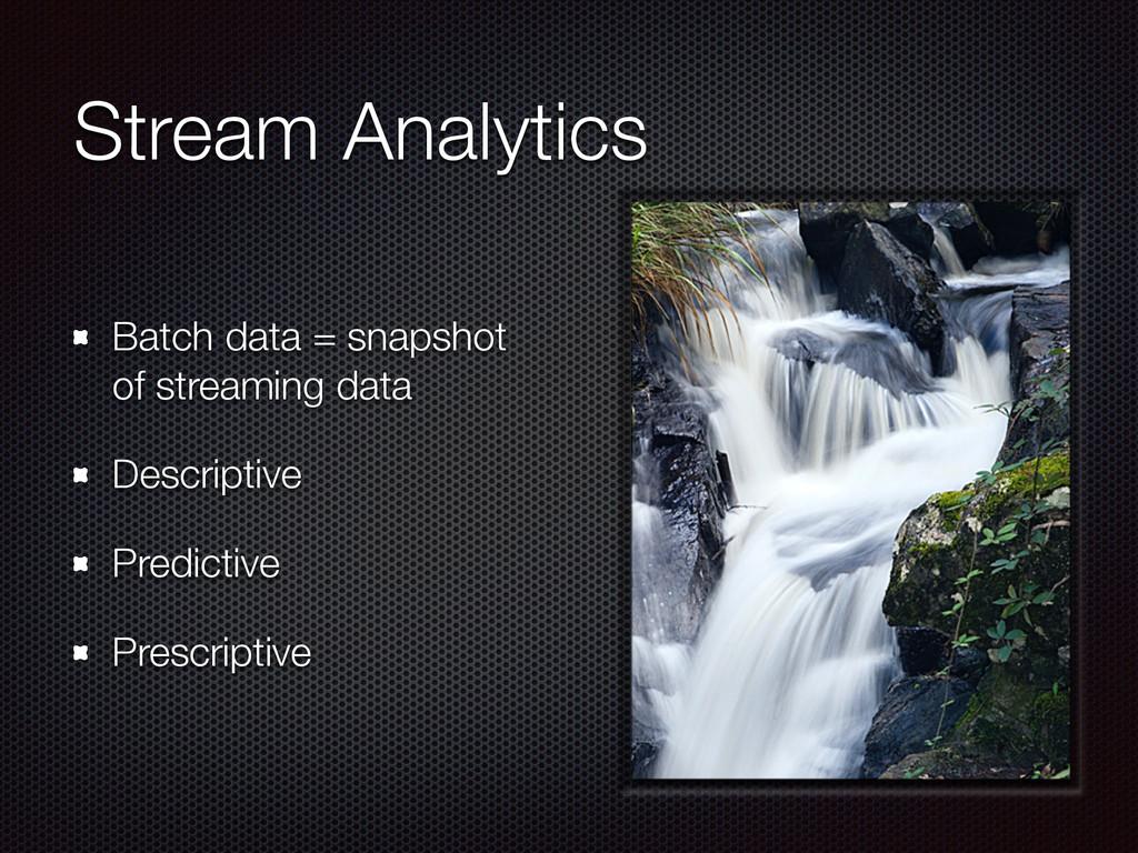 Stream Analytics Batch data = snapshot of strea...
