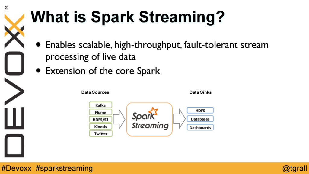 @tgrall #Devoxx #sparkstreaming What is Spark S...