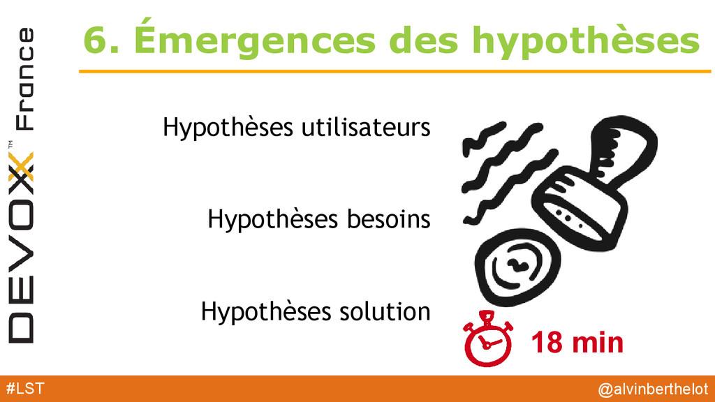 6. Émergences des hypothèses Hypothèses utilisa...