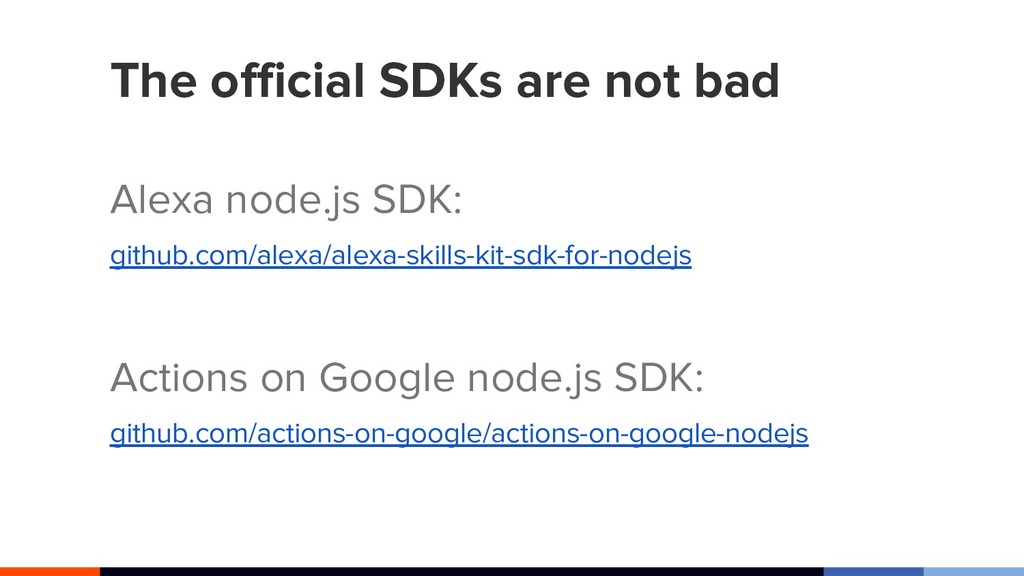 The official SDKs are not bad Alexa node.js SDK...