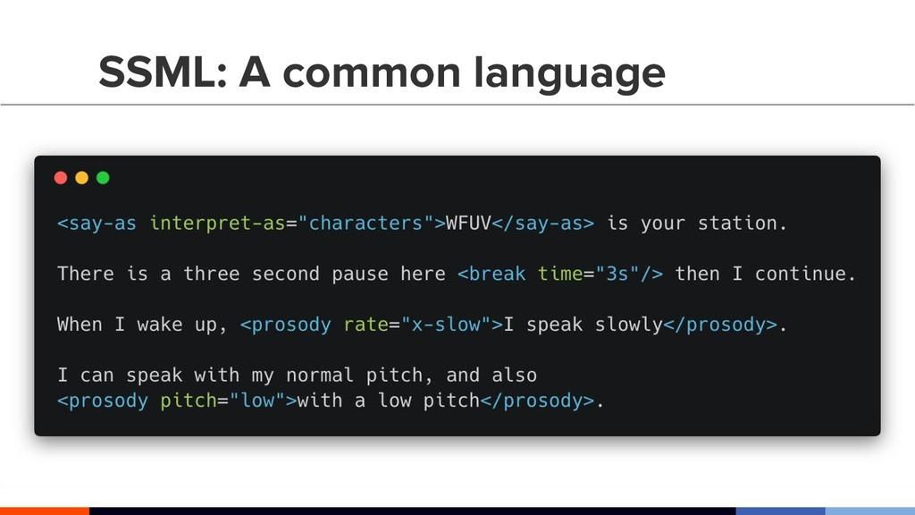 "SSML: A common language <say-as interpret-as=""c..."