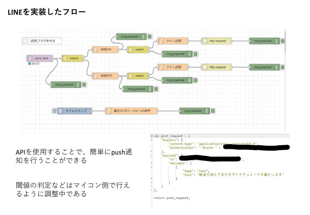 LINEを実装したフロー APIを使用することで、簡単にpush通 知を行うことができる 閾値...