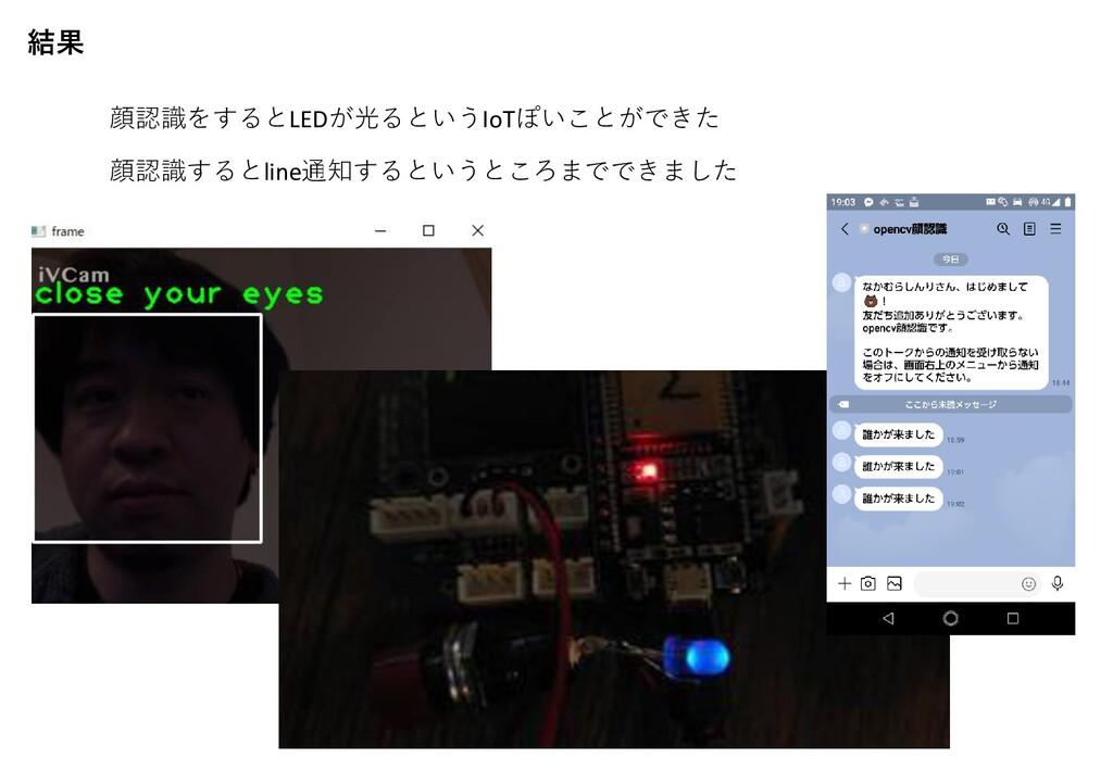 結果 顔認識をするとLEDが光るというIoTぽいことができた 顔認識するとline通知するとい...