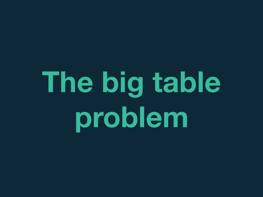 The big table problem