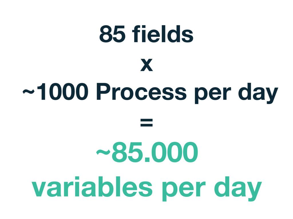85 fields x ~1000 Process per day = ~85.000 vari...
