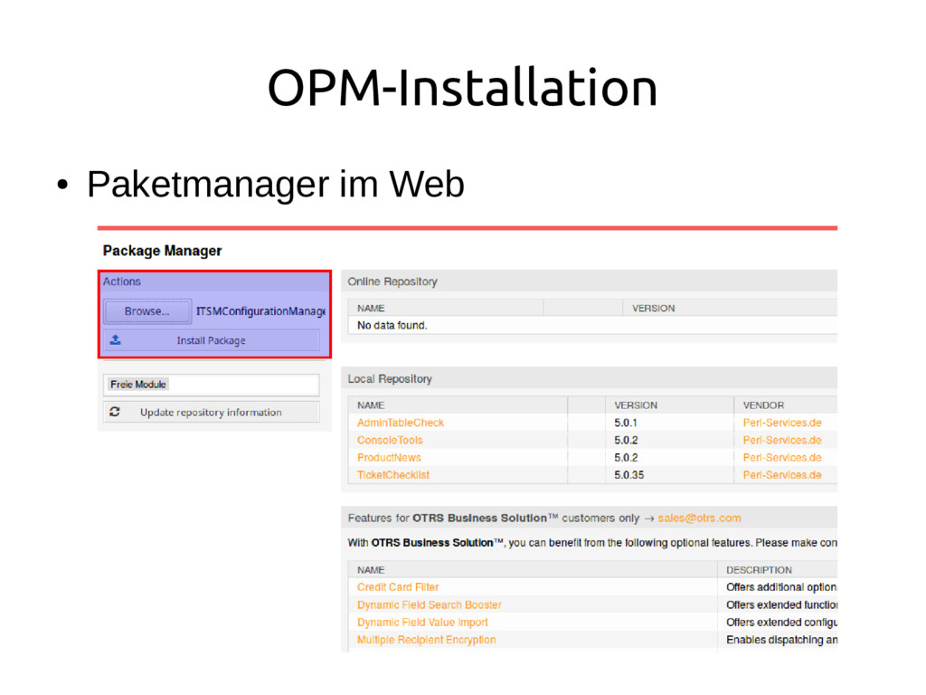 OPM-Installation ● Paketmanager im Web