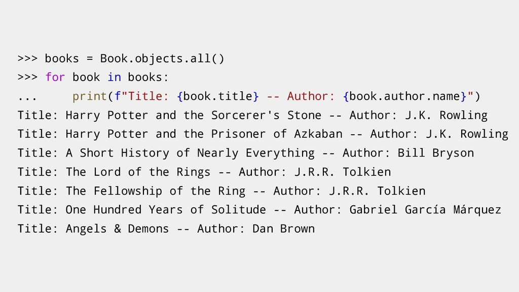 >>> books = Book.objects.all() >>> for book in ...