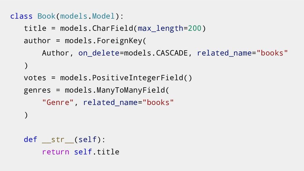 class Book(models.Model): title = models.CharFi...