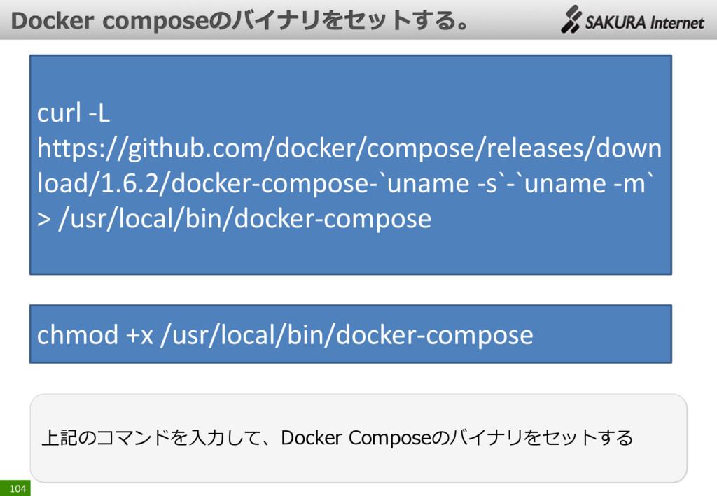 104 上記のコマンドを入力して、Docker Composeのバイナリをセットする curl...