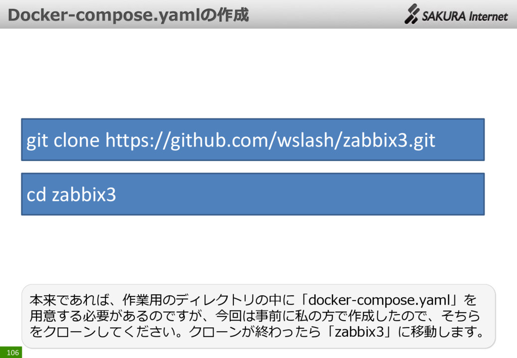 106 本来であれば、作業用のディレクトリの中に「docker-compose.yaml」を ...