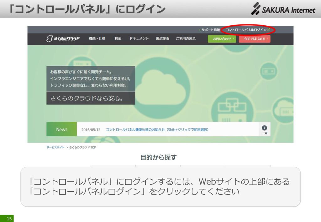 15 「コントロールパネル」にログインするには、Webサイトの上部にある 「コントロールパネル...