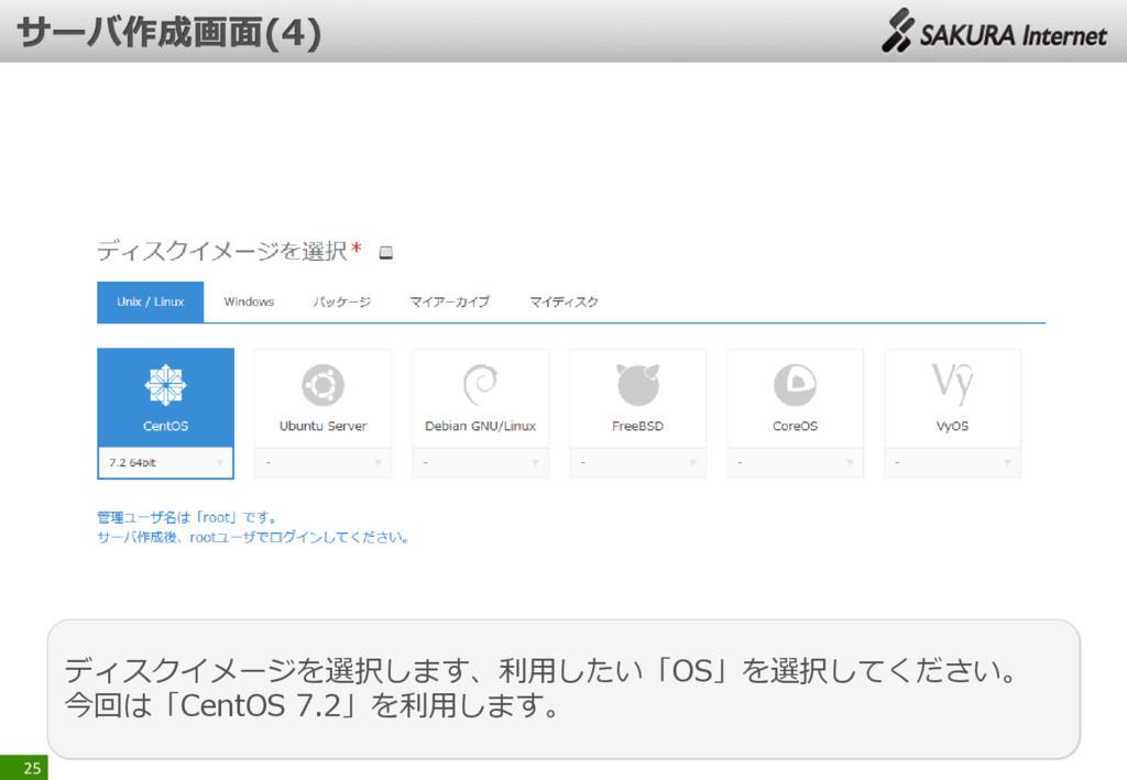 25 ディスクイメージを選択します、利用したい「OS」を選択してください。 今回は「CentO...