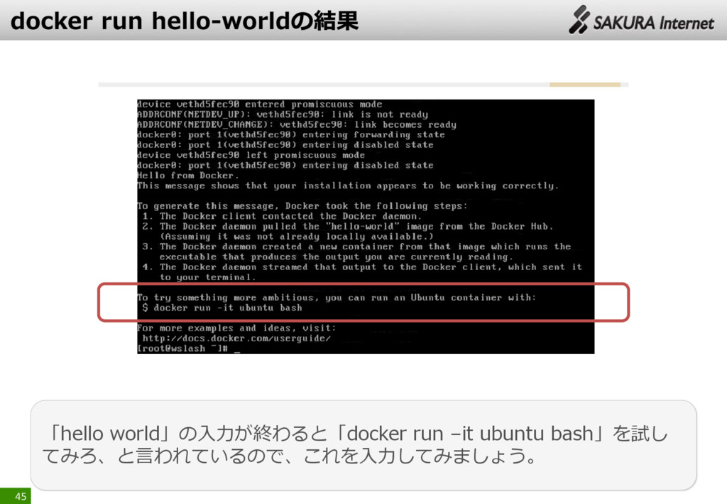 45 「hello world」の入力が終わると「docker run –it ubuntu ...